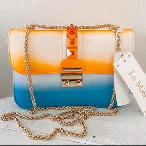 NWT ombré orange blue crossbody bag chain strap